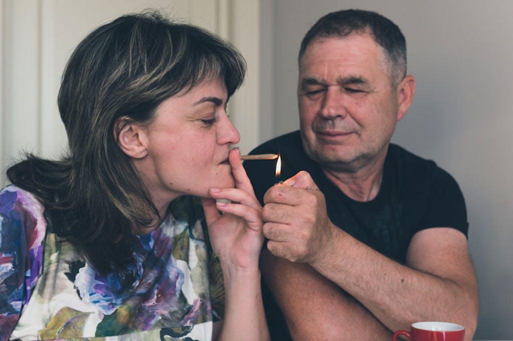A couple smoking medical cannabis