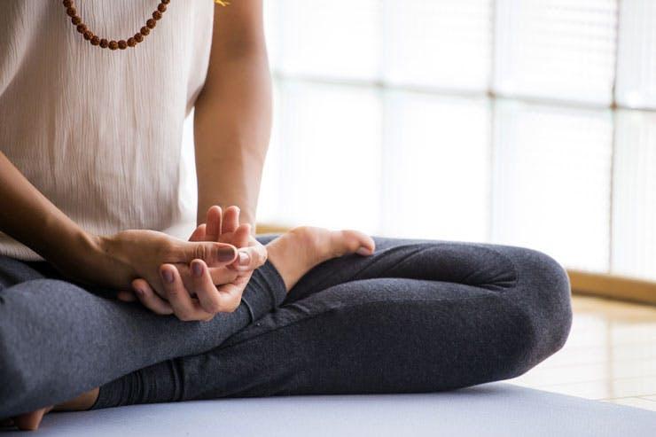 woman meditating breathing