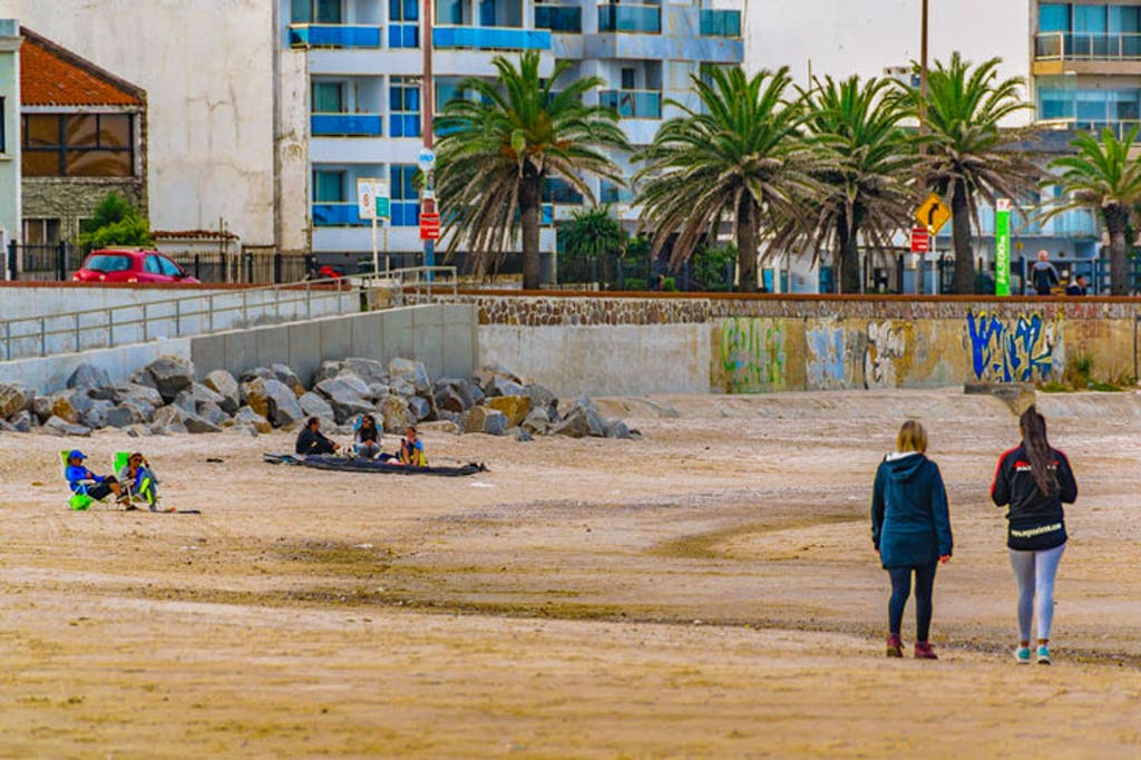 Walking along the beach in Montevideo, Uruguay