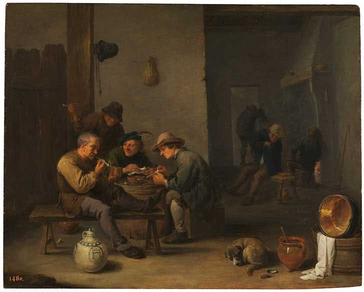 """Smokers in a tavern,"" painting by David Teniers the Younger"