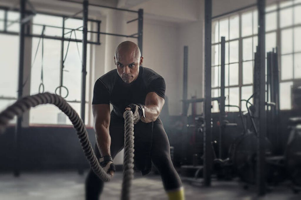 battle ropes gym workout