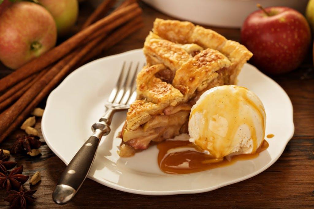 Apple pie a la mode with cannabis ice cream