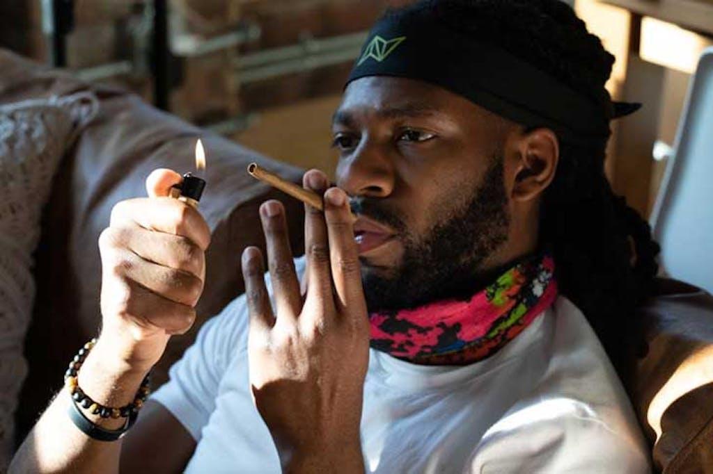 Smoking a blunt indoors
