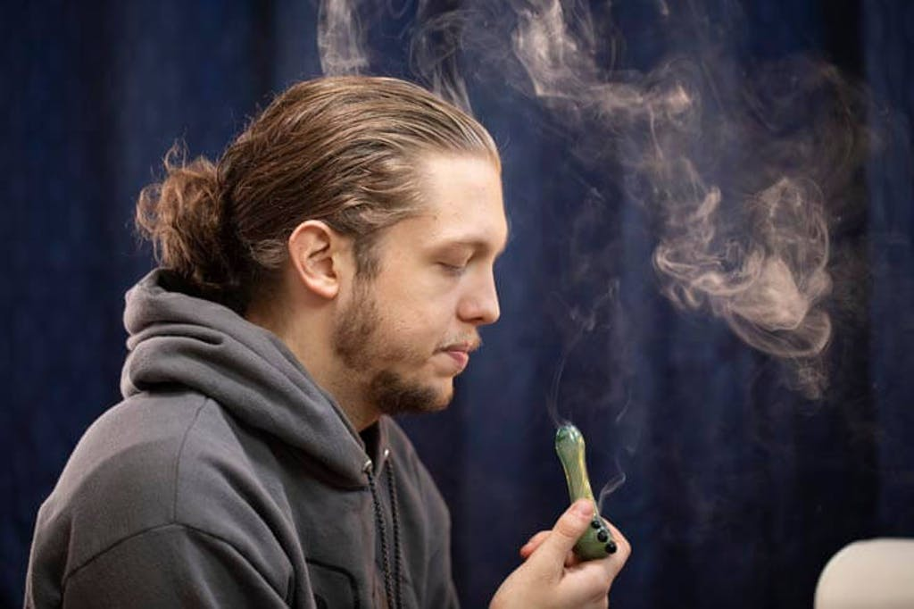 Smoking a bowl of weed