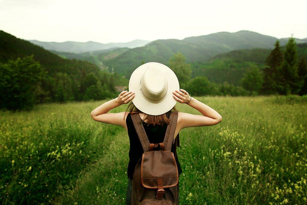 Woman looking at flower fields