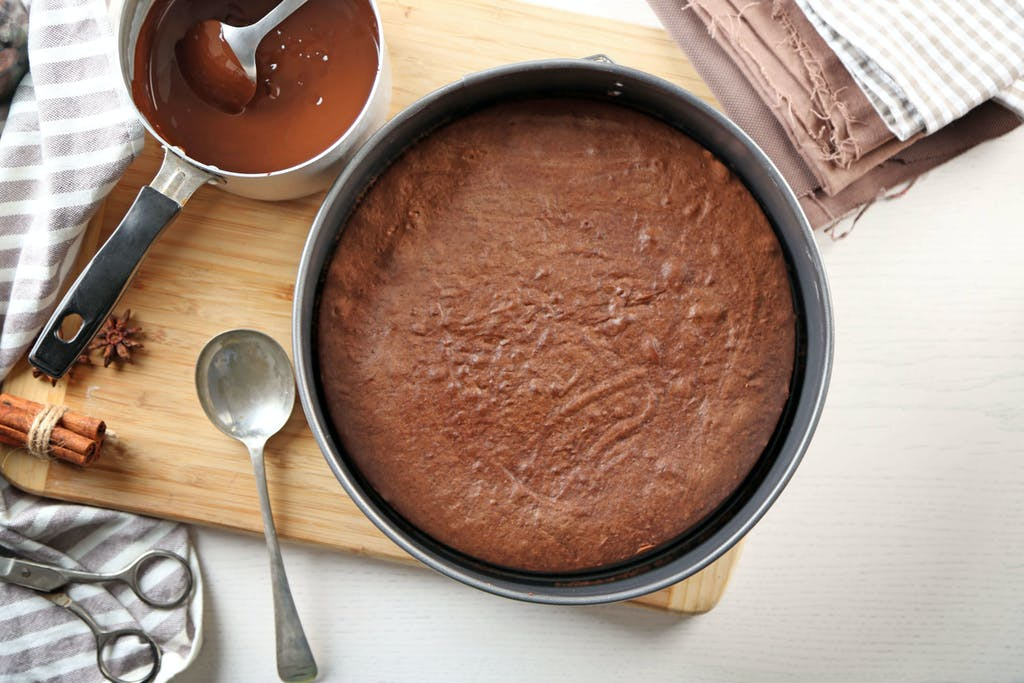 Baked chocolate cake in a pan