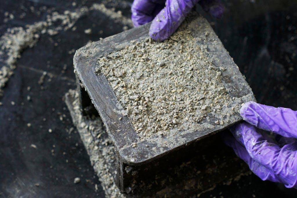 Hempcrete being poured into a brick mold
