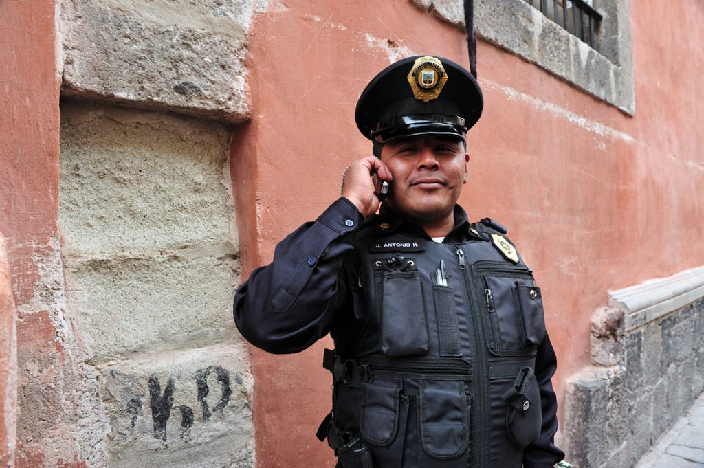 A police officer in Mexico City