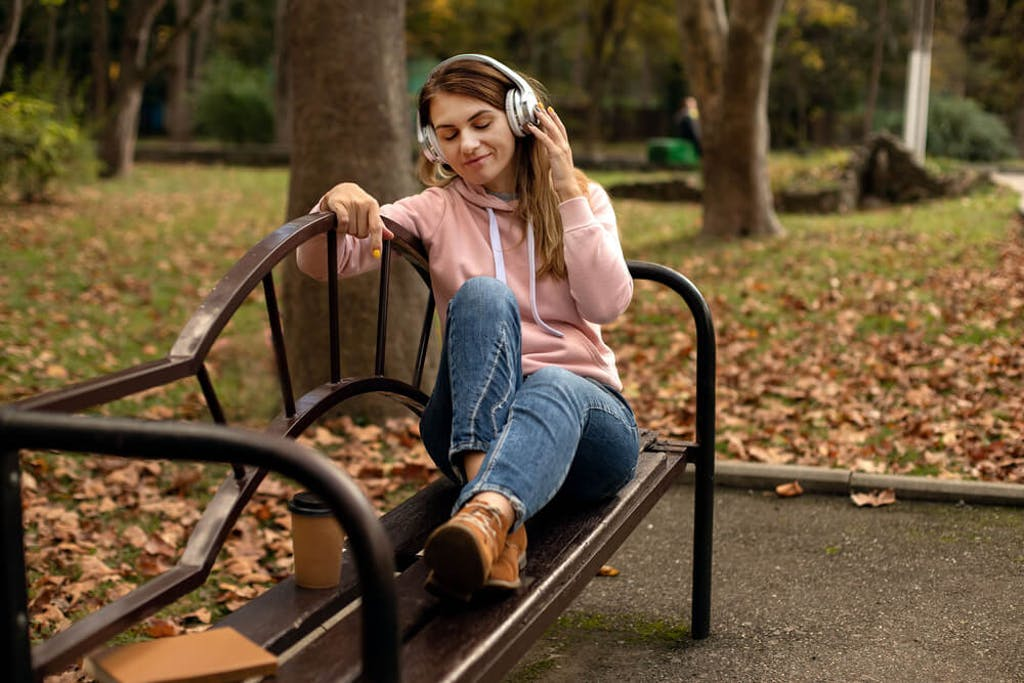 Listening to music in the park