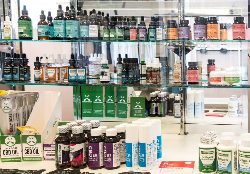 CBD products displayed in a retail store in Knoxville, TN