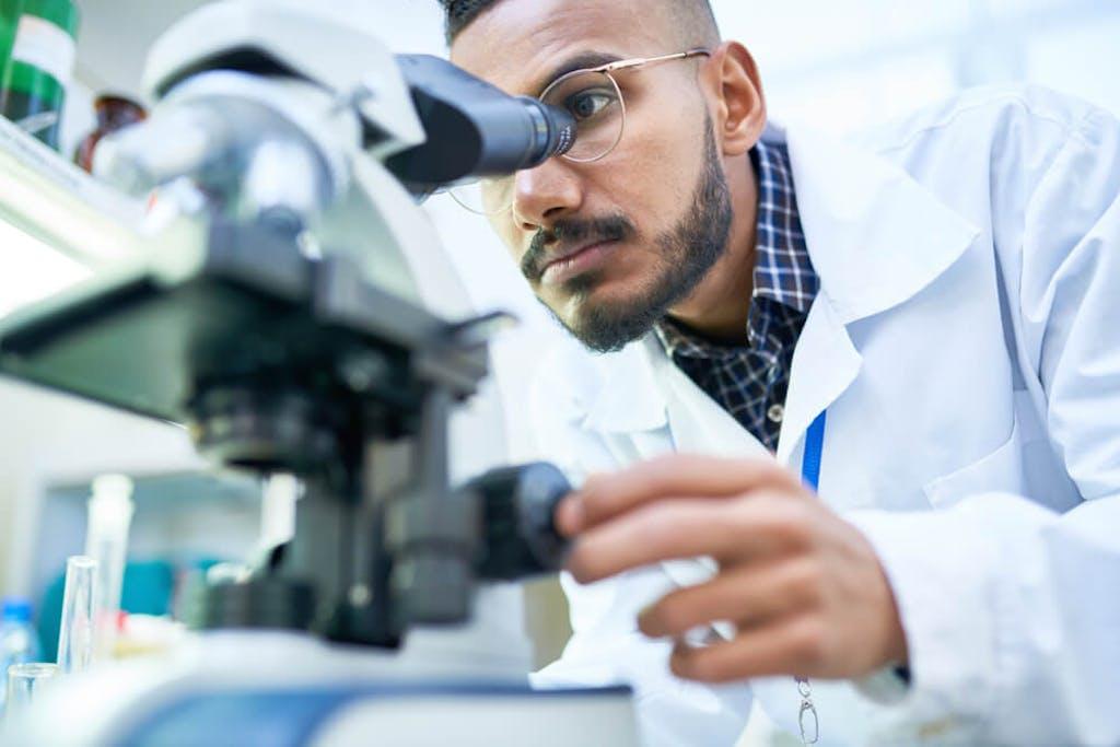 A cannabis researcher in a lab looks through a microscope