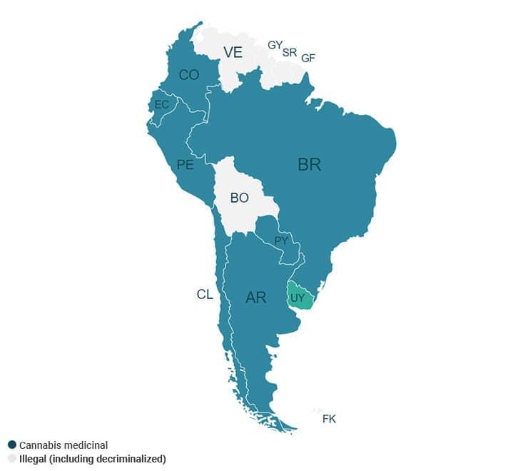 Where cannabis is legal in South America