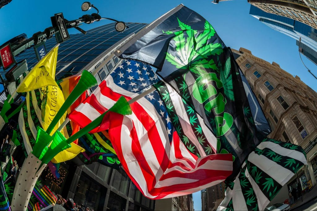 Advocates for marijuana march in New York at the annual NYC Cannabis Parade, New York NY USA-May 1, 2021