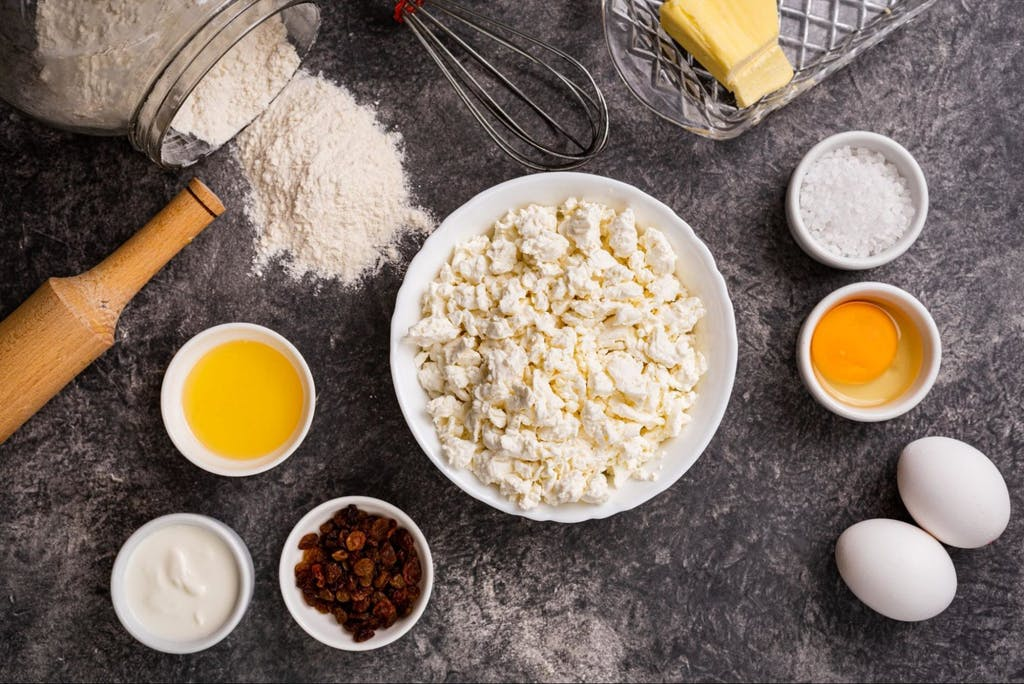 Ingredients for making homemade cheesecakes